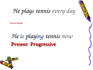 He is playing tennis now He plays tennis every day Present Simple Present Pr