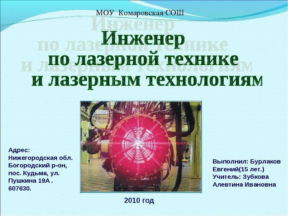 МОУ Комаровская СОШ Адрес: Нижегородская обл. Богородский р-он, пос. Кудьма,...