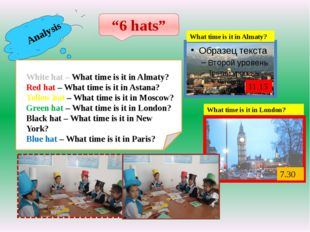 "Analysis ""6 hats"" White hat – What time is it in Almaty? Red hat – What time"
