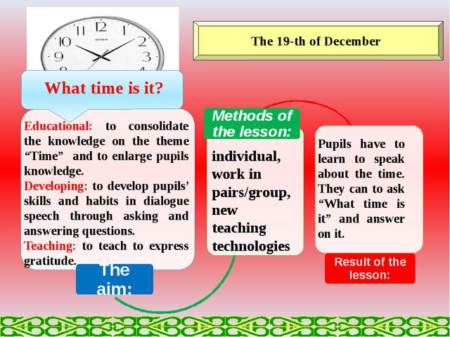 The 19-th of December Educational: to consolidate the knowledge on the theme...