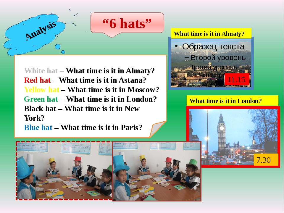 "Analysis ""6 hats"" White hat – What time is it in Almaty? Red hat – What time..."