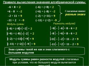 = 2 = –2 = 9 (–6) + (+8) = 2 (+6) + (–8) = –2 (–2) + (+11) = 9 (–11) + (+2) =