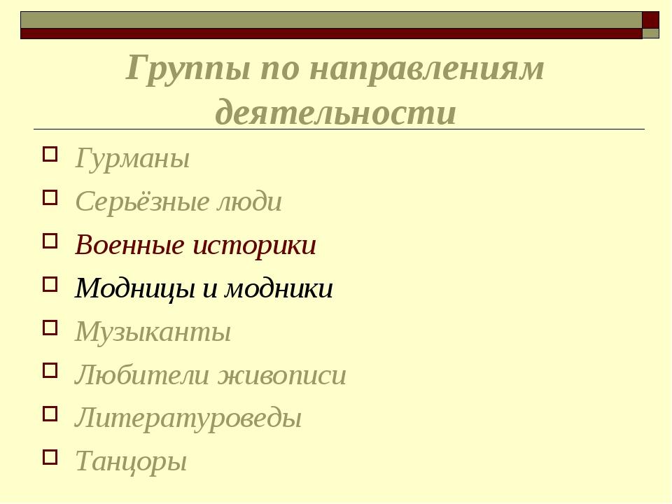 Группы по направлениям деятельности Гурманы Серьёзные люди Военные историки М...