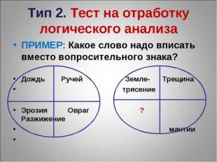 Тип 2. Тест на отработку логического анализа ПРИМЕР: Какое слово надо вписать