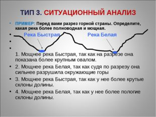 ТИП 3. СИТУАЦИОННЫЙ АНАЛИЗ ПРИМЕР: Перед вами разрез горной страны. Определит