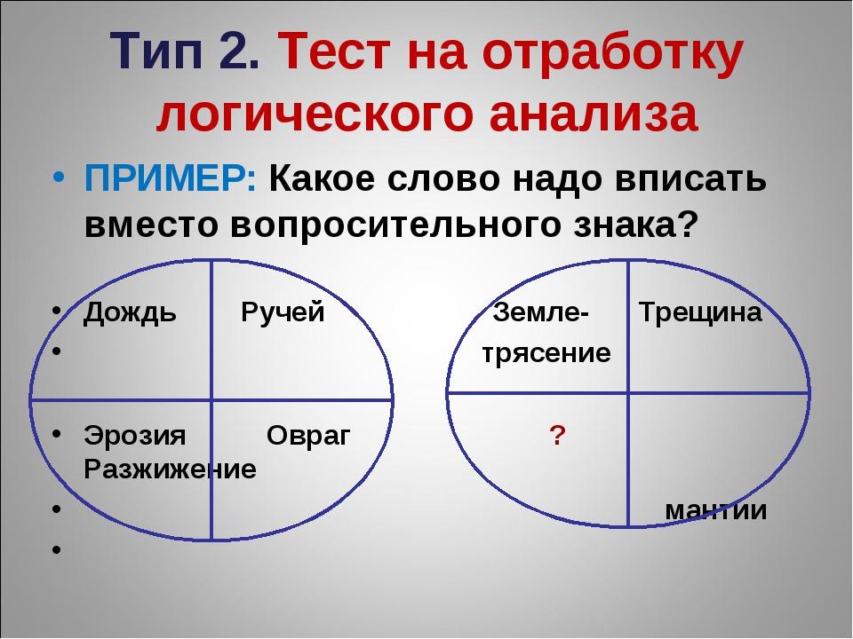 Тип 2. Тест на отработку логического анализа ПРИМЕР: Какое слово надо вписать...