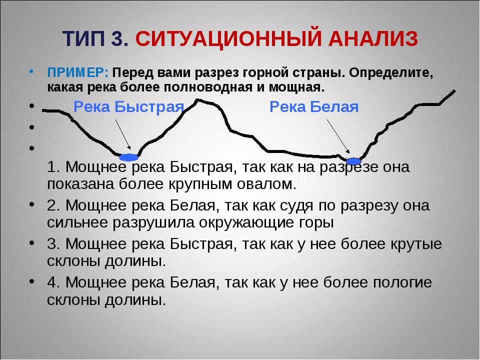 ТИП 3. СИТУАЦИОННЫЙ АНАЛИЗ ПРИМЕР: Перед вами разрез горной страны. Определит...