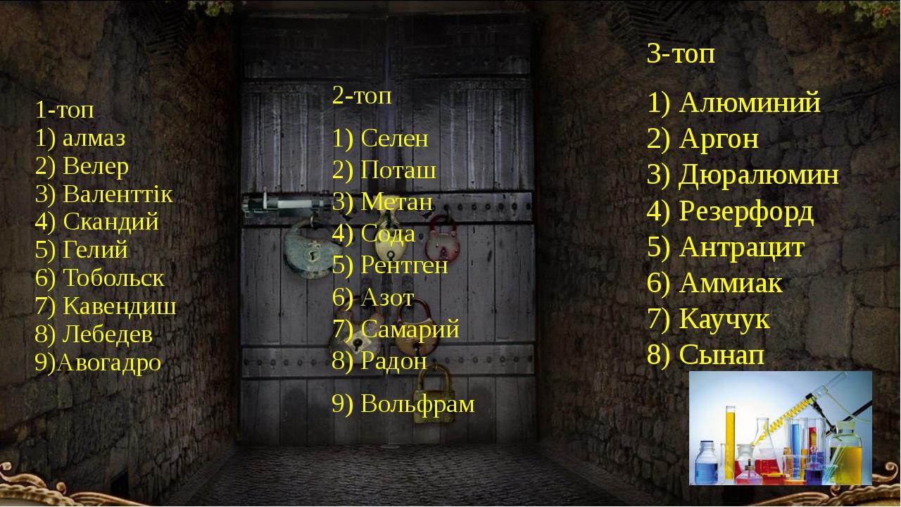 1-топ 1) алмаз 2) Велер 3) Валенттік 4) Скандий 5) Гелий 6) Тобольск 7) Кавен...