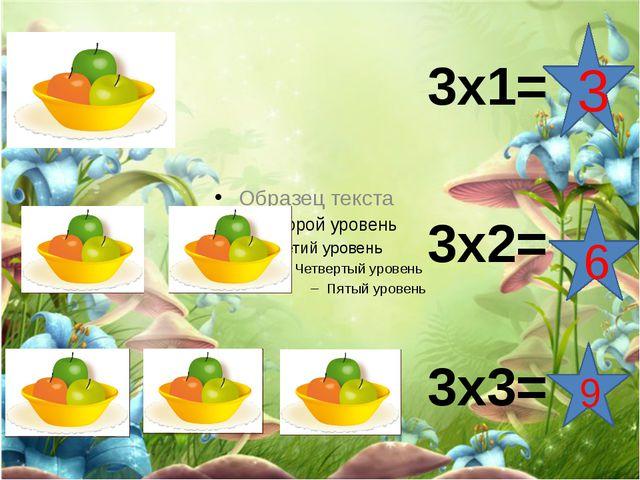 3х1= 3х2= 3х3= 3 6 9