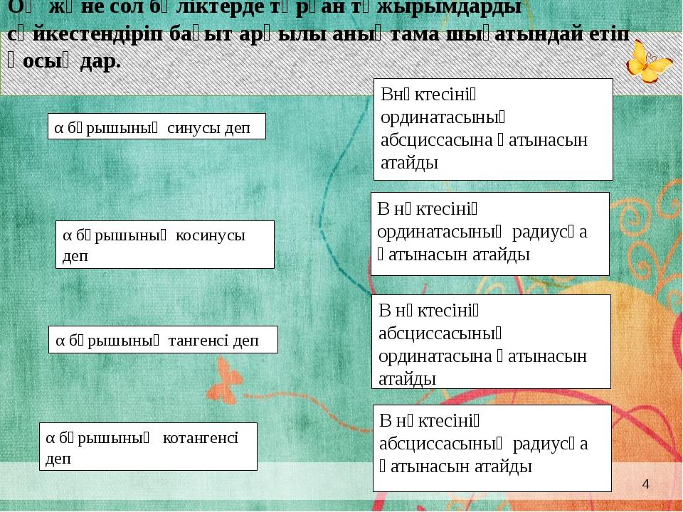 α бұрышының синусы деп α бұрышының тангенсі деп α бұрышының котангенсі деп α...