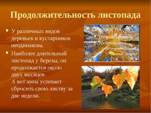 Продолжительность листопада У различных видов деревьев и кустарников неодинак