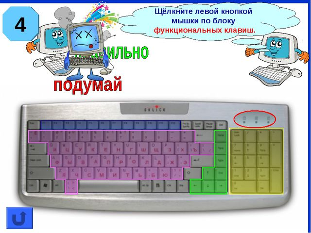Щёлкните левой кнопкой мышки по блоку функциональных клавиш. 4