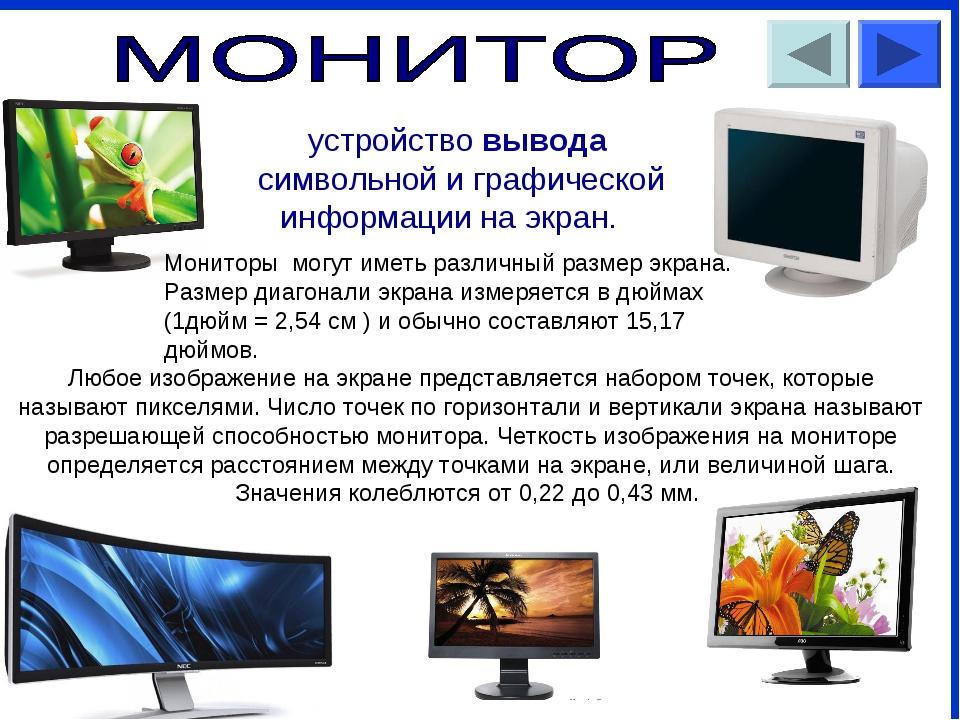 устройство вывода символьной и графической информации на экран. Мониторы м...
