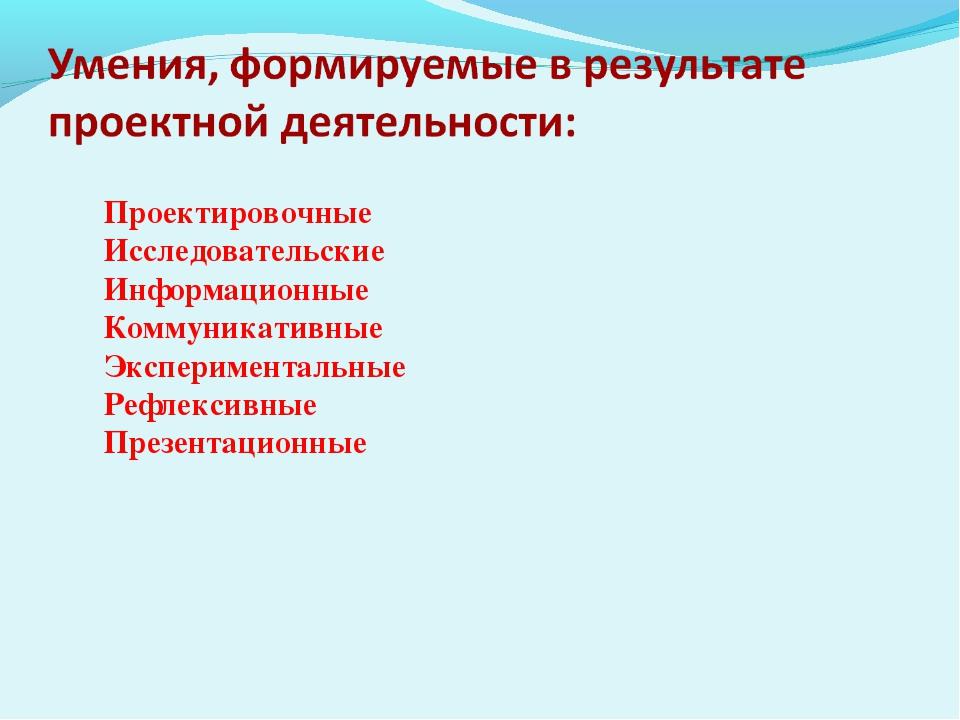 Проектировочные Исследовательские Информационные Коммуникативные Эксперимента...