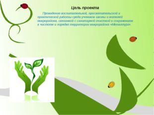 Цель проекта Проведение воспитательной, просветительской и практической работ