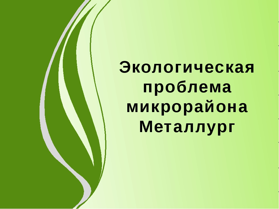 Экологическая проблема микрорайона Металлург