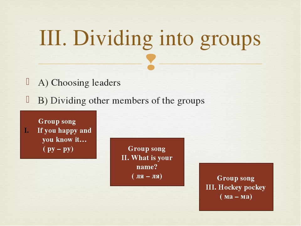 A) Choosing leaders B) Dividing other members of the groups III. Dividing int...