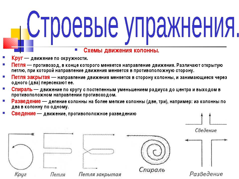 Схемы движения колонны. Круг — движение по окружности. Петля — противоход, в...