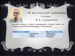 «В мастерской художника слова» Е.в. курдакова Выполните работу по любому стих