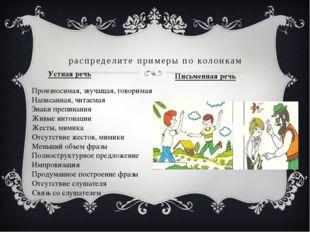 Устная речь распределите примеры по колонкам Письменная речь Произносимая, зв