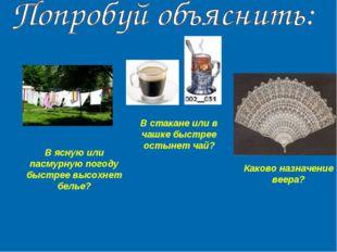 В стакане или в чашке быстрее остынет чай? В ясную или пасмурную погоду быстр