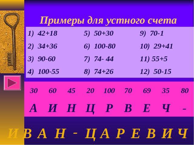 Примеры для устного счета И В А Н - Ц А Р Е В И Ч 3060452010070693580...