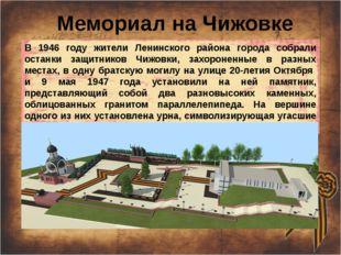 Мемориал на Чижовке В 1946 году жители Ленинского района города собрали оста