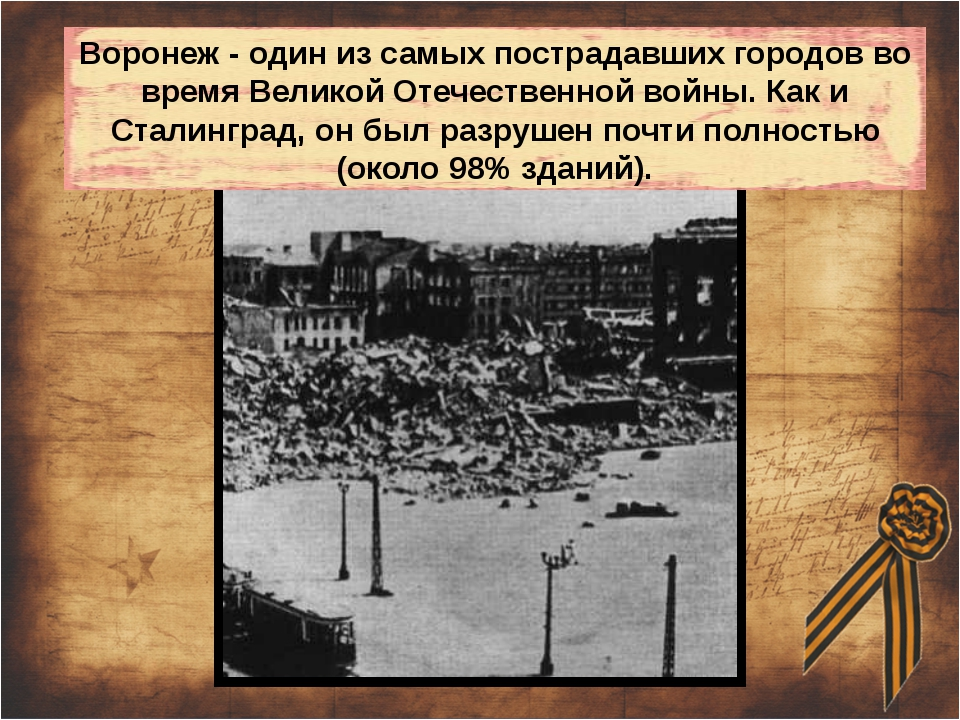 Воронеж - один из самых пострадавших городов во время Великой Отечественной в...