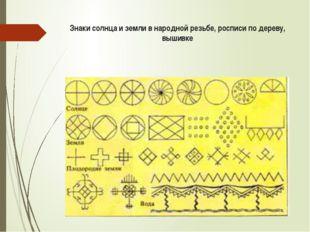 Знаки солнца и земли в народной резьбе, росписи по дереву, вышивке