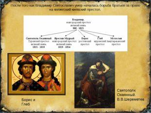 После того как Владимир Святославич умер началась борьба братьев за право на