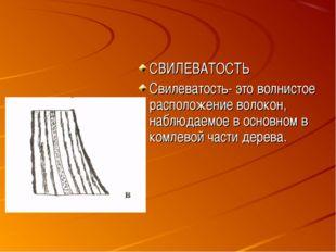 СВИЛЕВАТОСТЬ Свилеватость- это волнистое расположение волокон, наблюдаемое в