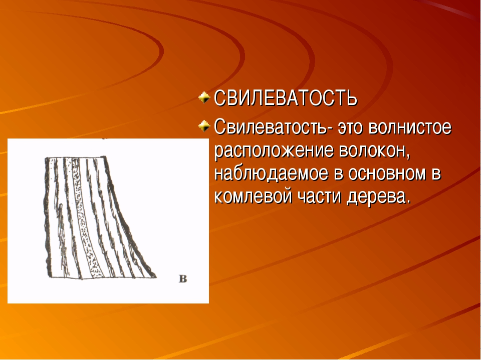 СВИЛЕВАТОСТЬ Свилеватость- это волнистое расположение волокон, наблюдаемое в...
