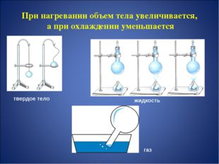 При нагревании объем тела увеличивается, а при охлаждении уменьшается твердое