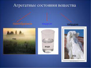 Агрегатные состояния вещества твёрдое жидкое газообразное