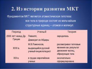 2. Из истории развития МКТ Фундаментом МКТ является атомистическая гипотеза: