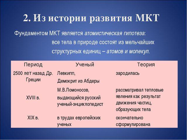 2. Из истории развития МКТ Фундаментом МКТ является атомистическая гипотеза:...