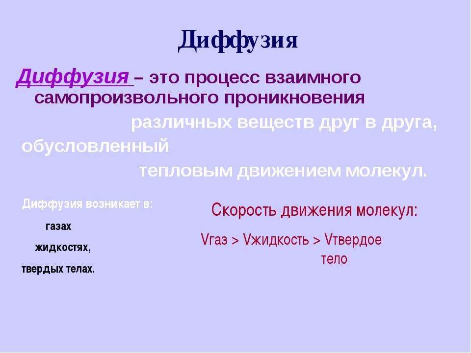 Диффузия Диффузия – это процесс взаимного cамопроизвольного проникновения...