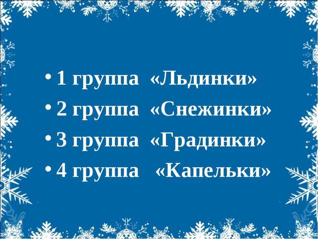 1 группа «Льдинки» 2 группа «Снежинки» 3 группа «Градинки» 4 группа «Капельки»