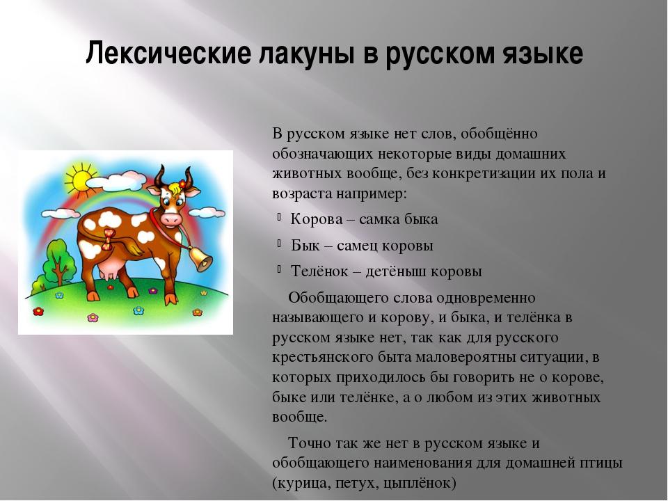 Лексические лакуны в русском языке  В русском языке нет слов, обобщённо обоз...