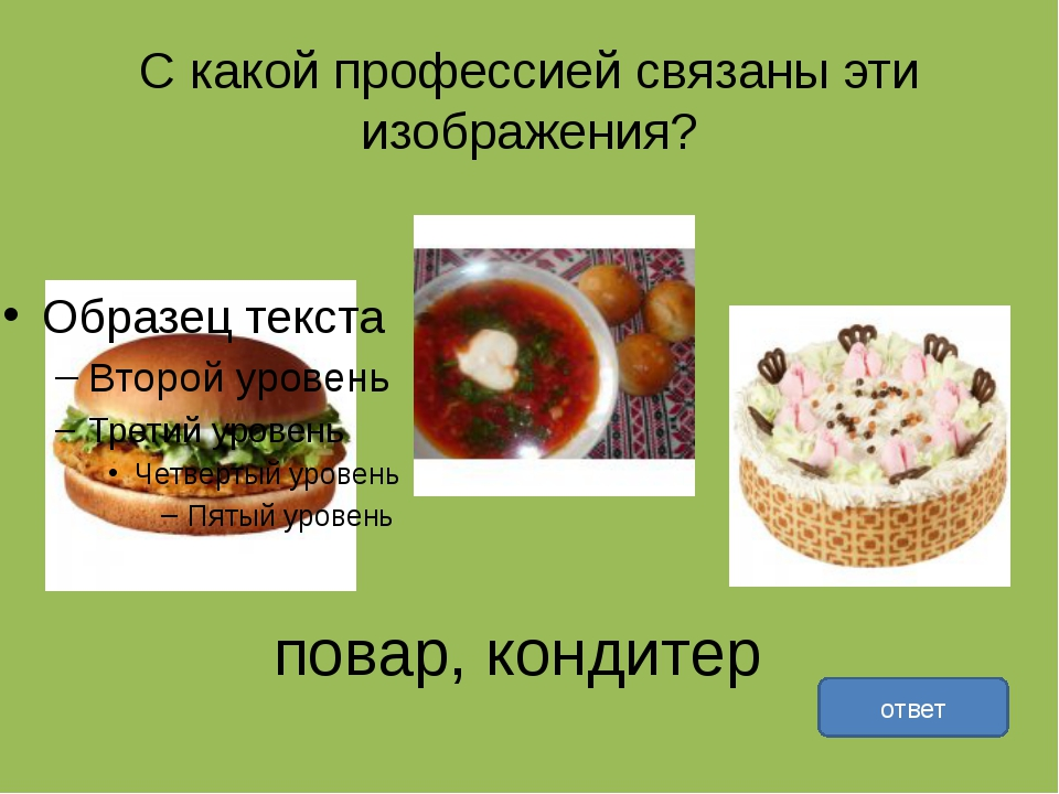 С какой профессией связаны эти изображения? ответ повар, кондитер
