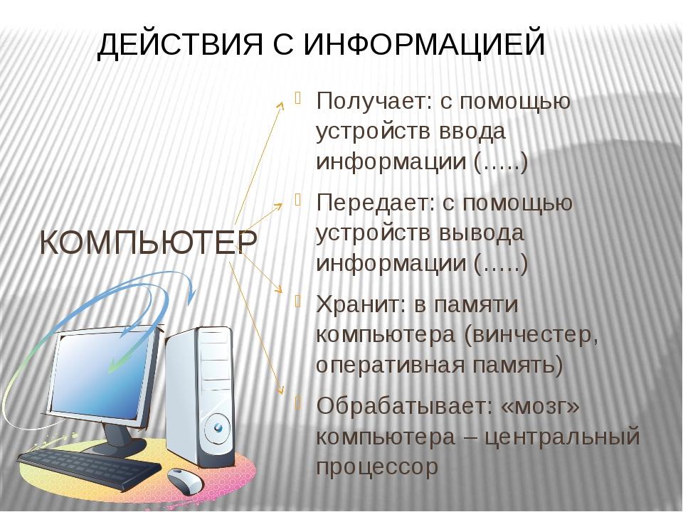 КОМПЬЮТЕР Получает: с помощью устройств ввода информации (…..) Передает: с по...