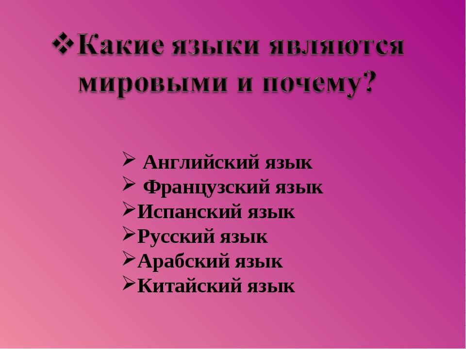 Английский язык Французский язык Испанский язык Русский язык Арабский язык К...