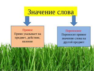 Значение слова Прямое Прямо указывает на предмет, действие, явление Переносно