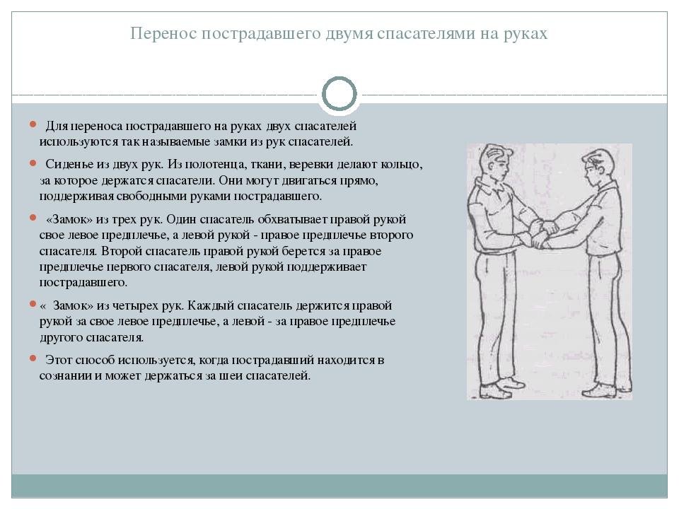 Перенос пострадавшего двумя спасателями на руках  Для переноса пострадавшего...