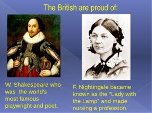 The British are proud of: W. Shakespeare who was the world's most famous play