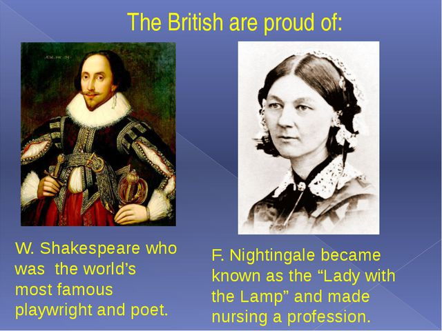 The British are proud of: W. Shakespeare who was the world's most famous play...