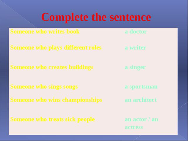 Complete the sentence Someone who writes book a doctor Someone who plays diff...