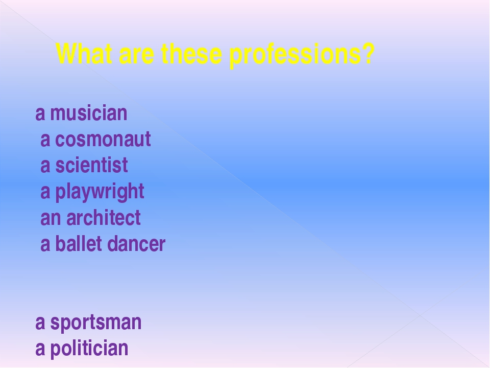 What are these professions? a musician a cosmonaut a scientist a playwright a...