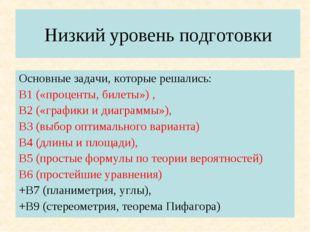 Низкий уровень подготовки Основные задачи, которые решались: В1 («проценты, б