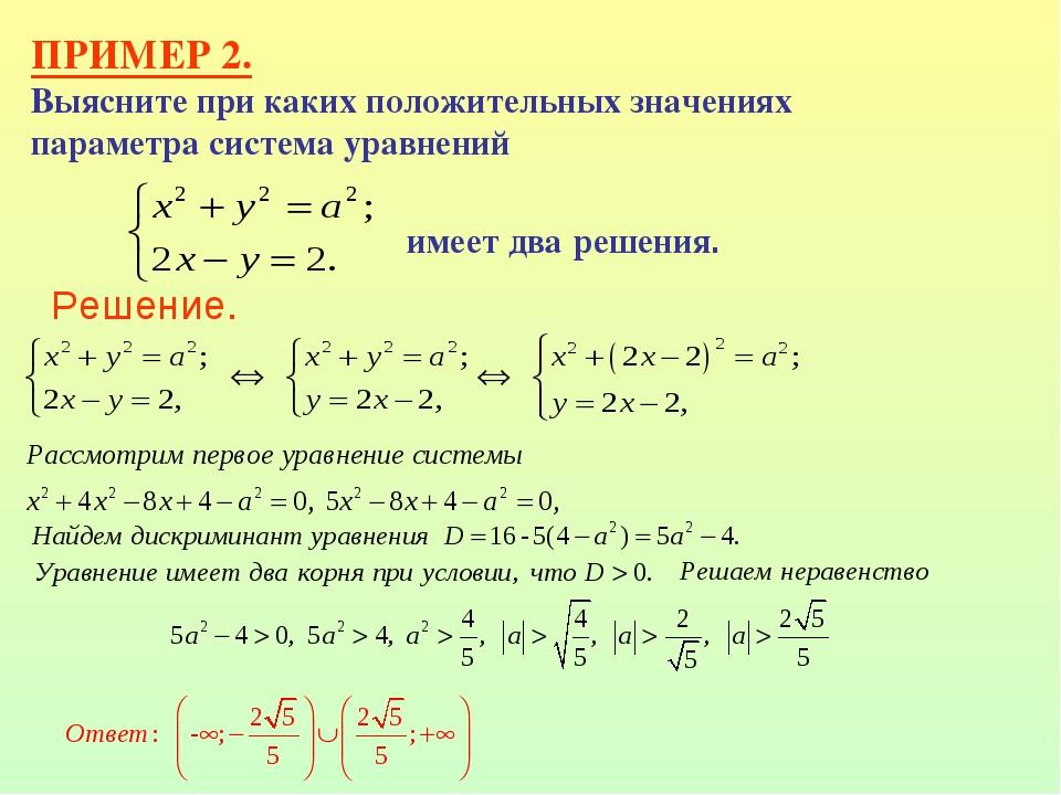 ПРИМЕР 2. Выясните при каких положительных значениях параметра система уравне...